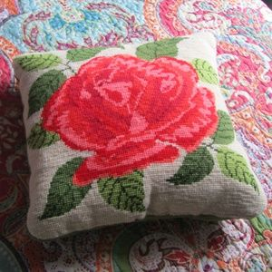 Vintage Handmade Needlepoint Rose Pillow